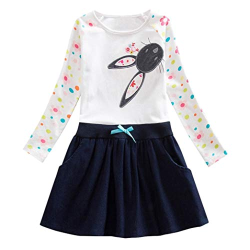 Moonker Girls Princess Dress 2-6 Years Old,Toddler Baby Girl Kids Fall Winter Clothes Long Sleeve Cartoon Bowknot Dress (3-4 Years Old, White) -