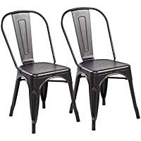 eurosports Tolix Style Chair 3004-ABB-2 Metal Kitchen Dining Chairs with Back, Set of 2 Antique Black Brushing