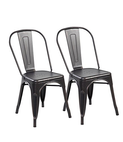 eurosports Tolix Style Chair 3004-ABB-2 Metal Kitchen Dining Chairs with Back, Set of 2 Antique Black Brushing For Sale