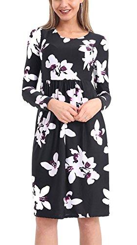 Islander Fashions Damen Blumendruck Frankie Smoke Flared Swing Kleid ...