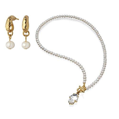 (Sea-Smadar Eliasaf Elegant Freshwater Pearl Necklace with Hamsa Swarovski Crystal + Pearl Erring)