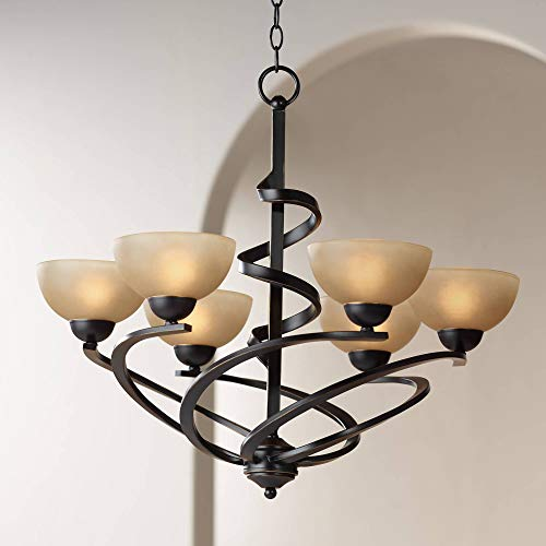 - Bronze Chandelier Dark Ribbon Classic Glass 27 1/2