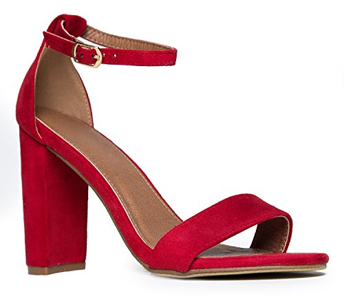 Strappy Chunky Block High Heel - Formal, Wedding, Party Simple Classic Pump - Shirley by J.Adams]()