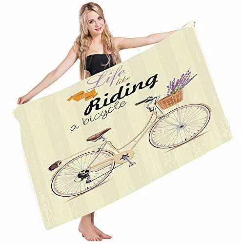Mugod Beach Towel Bath Towels Bicycle Boho Pop Antique Bike an Aesthetic Lavender Bouquet Basket Yoga/Golf/Swim/Hair/Hand Towel for Men Women Girl Kids Baby 64x32 Inch by Mugod