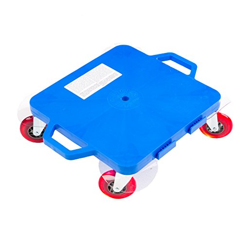 (Cosom Scooter Board, 16 Inch Premium Sit & Scoot Board with 4 Inch Non-Marring Performance Wheels, Double Race Bearings, Safety Handles, Physical Education Class Equipment, Blue)