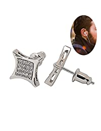 BALA ❥Mens Black Square Earring Studs❥ Big Kite Silver, Diamond Ear Studs for Cool Male Guys CZ 18k Gold Plated Jewelry AAA Cubic Zirconia 9mm, 9.5mm