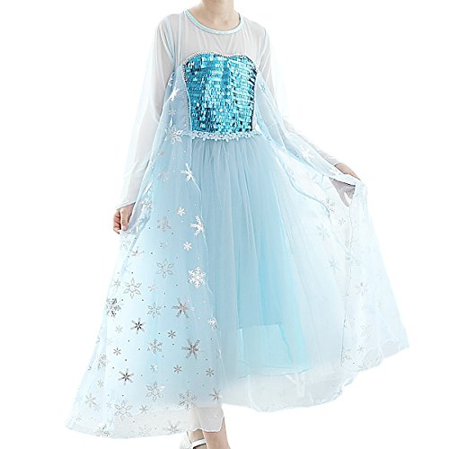 SMITH SURSEE Frozen Elsa Priness Dress Up Costume Cosplay Dress for Girls