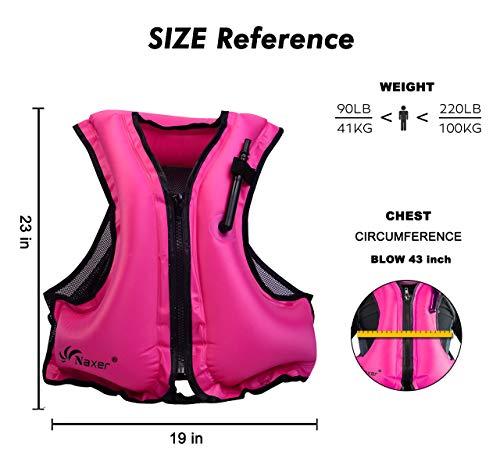 NAXER Inflatable Kayak Vest Adult Snorkeling Jacket Swim Buoyancy for 90-220 lbs