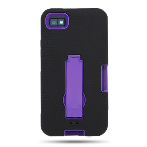 CoverON Hybrid Dual Soft Black Silicone Skin Cover and Heavy Duty Hard Purple Case w/Kickstand for BlackBerry Z10 (VERIZON, ATT, T-Mobile) with PRY-Triangle Case Removal Tool [WCC10]