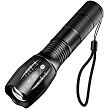 Syntus 1000 Lumens Tactical Flashlight Military Handheld Portable LED Flashlight Zoomable Ultra Bright Mini Torch Light with Adjustable Focus and 5 Lighting Modes for Hiking, Camping