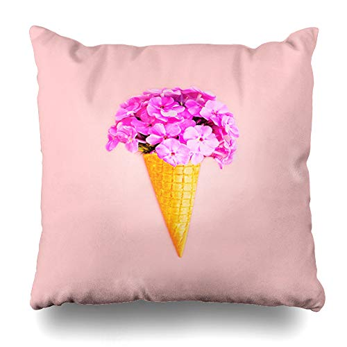 Ahawoso Throw Pillow Cover Square 16x16 Glamour Pink Ice Cream Cone Flowers Over Bouquet Nature Abstract Bright Color Confectionery Cool Zippered Cushion Case Home Decor ()