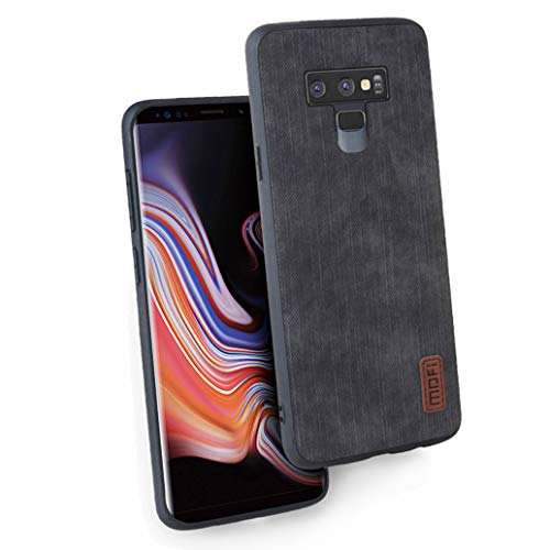 Case Fit for Samsung Galaxy Note 9,Cover Silicone Luxury Soft Jeans Leather Shockproof Dirt-Resistant Anti-Knock Waterproof (Black)