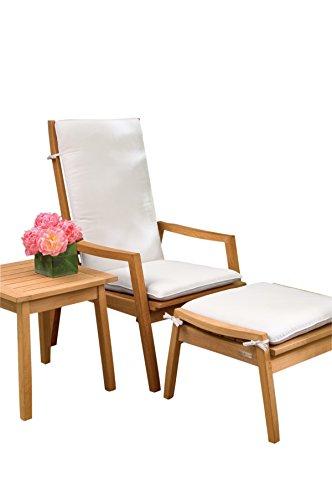 Oxford Garden 5 Piece Siena Shorea Chat Set with Canvas Sunbrella Cushion, (Natural Shorea Wood)