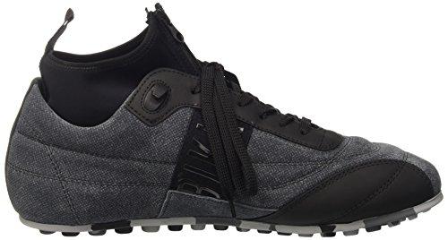 Bikkembergs Soccer 772 Low Shoe M Leather/Lycra, Sandalias con Plataforma para Hombre Gris / Negro