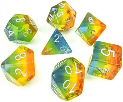Juego de Dados de Alta definición de poliedros D&D para Mazmorras y Dragones RPG Juegos de rol MTG Pathfinder Mesa Top Games 7 Dados Set Amarillo Aurora: Amazon.es: Juguetes y juegos
