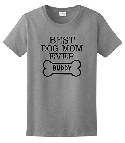 Personalized Dog T-Shirt Personalized Dog Gift Best Dog Mom Ever Custom Name Ladies T-Shirt Medium SpGry (T-shirts Dog Personalized)