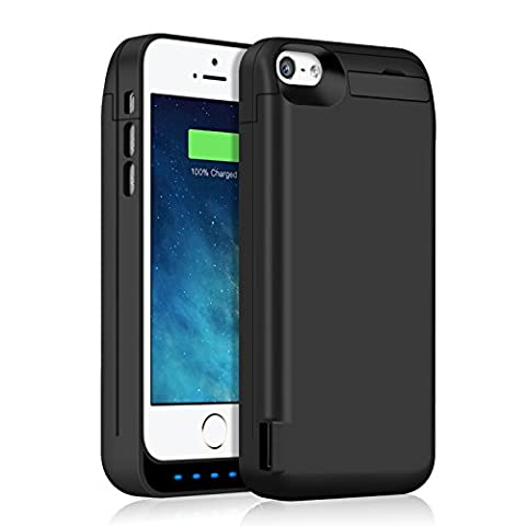 iPhone 5 5S 5C SE Battery Case 4600mAh, Gixvdcu Extended Rechargeable Protective Charger Cover Built in Extra USB Power Bank for iPhone 5 5S 5C SE – (A Charging Iphone 5 Case)