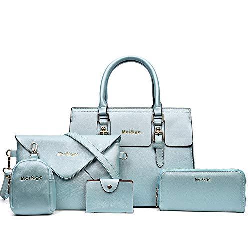 (5-Piece Set Women's Designer Handbags And Purses Female Satchel Shoulder Bags Tote Bags Clutch Wallets (light blue))