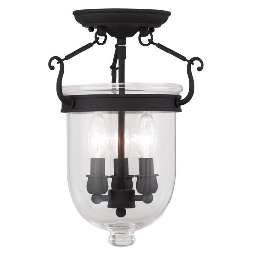 Livex Lighting 5061-04 Jefferson 3-Light Ceiling Mount, Black
