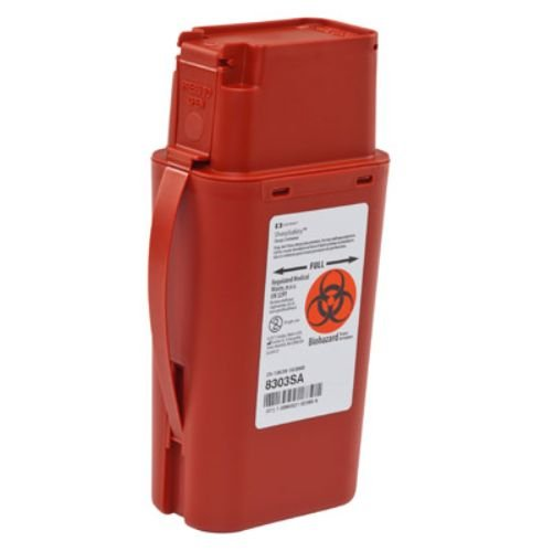 Covidien 8303SA SharpSafety Transportable Sharps Container, 1 quart Capacity, 8-3/4'' Height x 2-1/2'' Depth x 4-1/2'' Width, Red (Pack of 20)