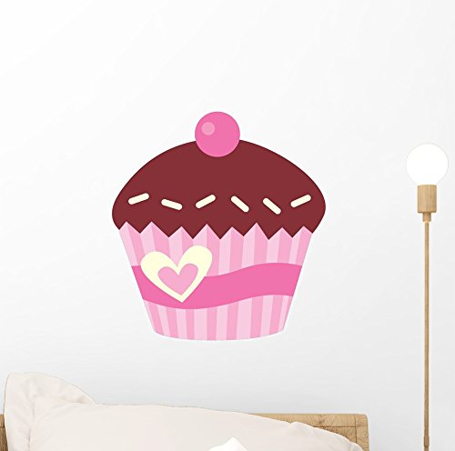 Wallmonkeys WM231244 Cute Pink Cup Cake with Cherry Wall Decal Peel and Stick Graphic (12 in H x 8 in (Silhouettes Cherry Chocolate)