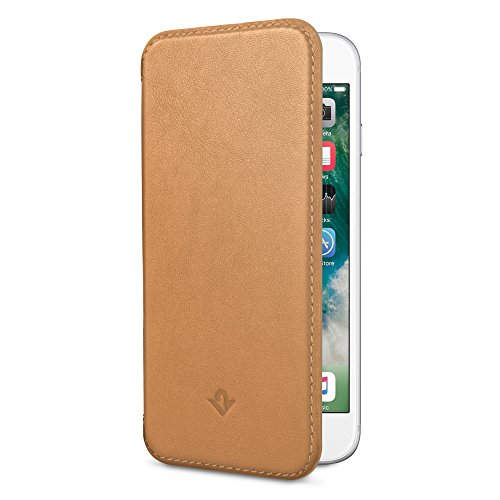 Twelve South SurfacePad for iPhone 6/6s, Camel | Ultra-Slim Luxury Leather Cover + Display Stand (Napa Pad Holder)