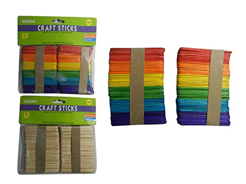 CRAFT STICK 100PC WOOD+COLORED SIZE:0.5''X3.15'' , Case of 144