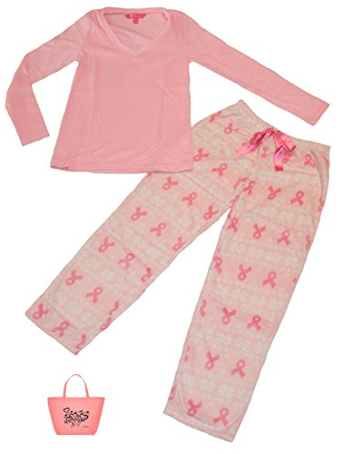 Fleece Cancer Breast (Breast Cancer Awareness Womens' Mink Fleece Pajamas & Tote Gift Set (Medium, Pink))