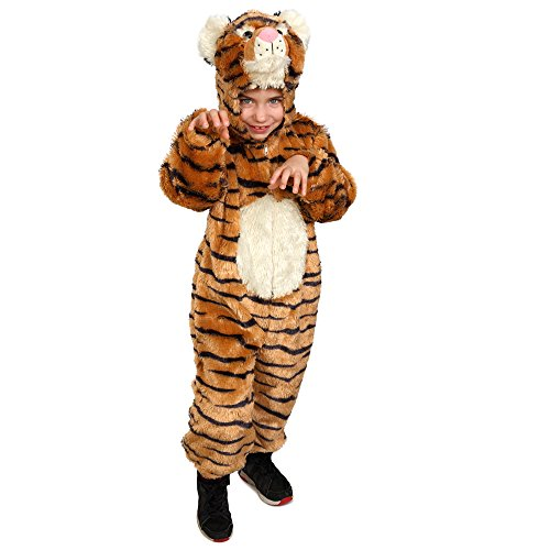 Tiger Kids Costumes (Dress Up America Toddlers Kids Striped Tiger Costume Pretend Play Jumpsuit)