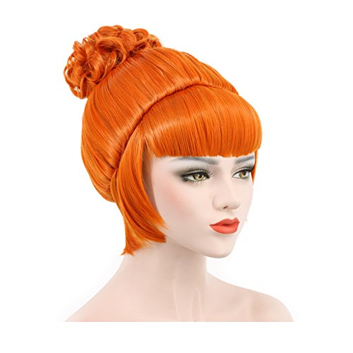 Karlery Short Bud Ball Braid Orange Wig Flat Bangs Updo Chignon Cosplay Wig Halloween Costume Party Wig. -