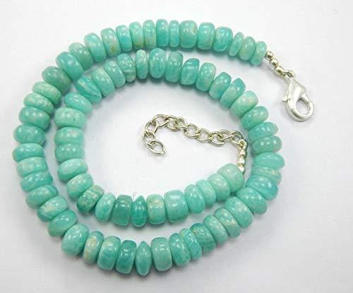 Super Quality Gemstone Beautiful Jewelry Natural Amazonite Smooth Rondelle Beads 18.5 Inch Strand, Amazonite Smooth Rondelle Beads Size 8-11 mm Code-JP-2669   B07KNR2NLK