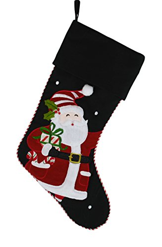 Christmas Holiday Black Stocking with Embroidered Detailed Santa Design - 17'' x 10'' by JWM Collection