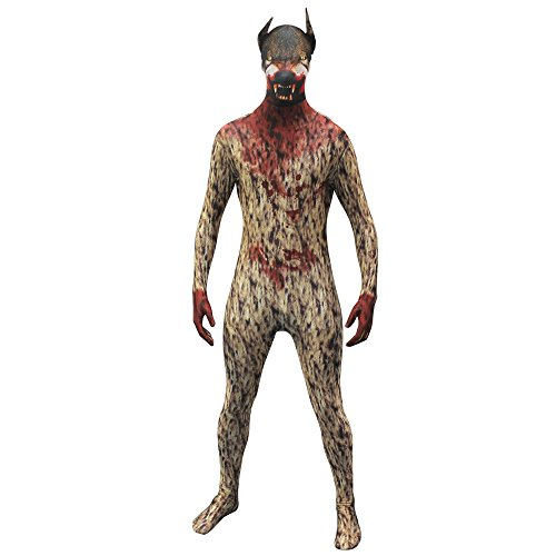 Morphsuits Morphsuit Premium Werewolf, Brown/Red, (Brown Morphsuit)