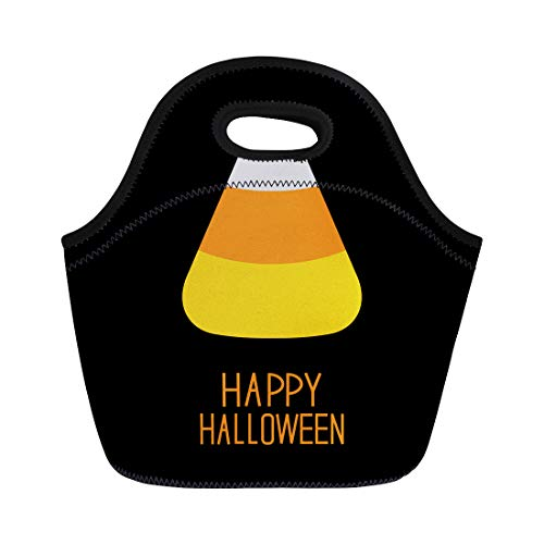 Semtomn Neoprene Lunch Tote Bag Orange Cartoon Candy Corn Happy Halloween Flat Yellow Baby Reusable Cooler Bags Insulated Thermal Picnic Handbag for Travel,School,Outdoors,Work]()