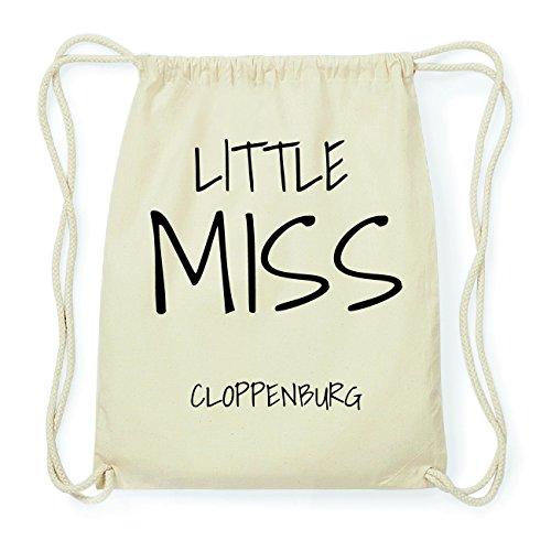 JOllify CLOPPENBURG Hipster Turnbeutel Tasche Rucksack aus Baumwolle - Farbe: natur Design: Little Miss