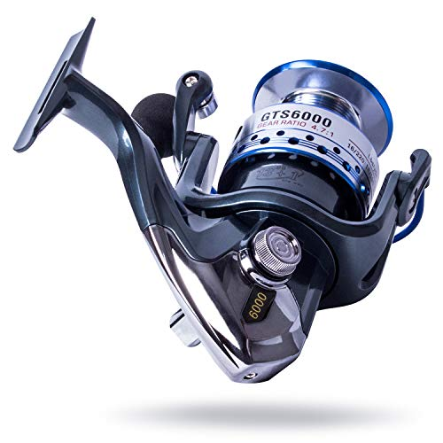 GOLD★SHARKING Surf Fishing Reels,High-Capacity Aluminum Spools Stainless Steel Handle Fly Fishing Reel,Spinning Reels of Carbon Frame and Rotor, Series GT6000