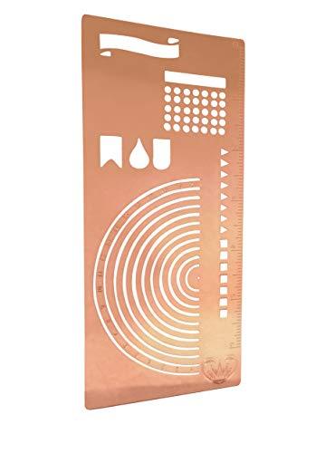 cil I Ruler Semi Circle Habit Tracker Template I Great for Bullet Journal Calendar Notebook Agenda I Scrapbook Album Craft Supplies for Adults KidsGOLD Stencil (Rose Gold) ()