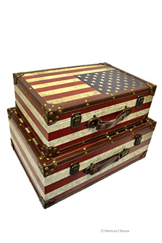 Retro Set 2 Wood Star Stripes Nesting Suitcase American Flag Home Storage Boxes