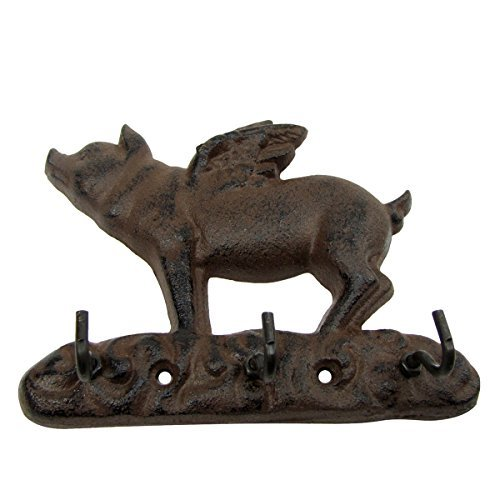 Metal Wall Mount Flying Pig w/ Wings 3 Hooks Key Ring Holder Coat Rack Hat Hook