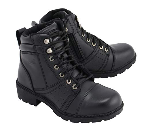 M Boss Apparel BOS49302 Ladies 6 Inch Black Accelerator Leather Motorcycle Boots - 6.5