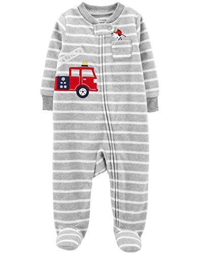 Carter's Little Boys' Football Micro-Fleece Sleeper (Newborn, Grey Stripe Fire Truck)