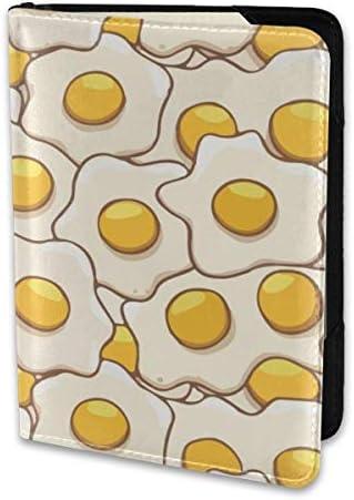 目玉焼き 卵 朝ごはん パスポートケース メンズ レディース パスポートカバー パスポートバッグ 携帯便利 シンプル ポーチ 5.5インチ PUレザー スキミング防止 安全な海外旅行用 小型 軽便
