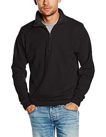 """Fruit Of The Loom Mens Premium 70/30 Zip Neck Sweatshirt (S (Chest 35-37"""")) (Black)"""