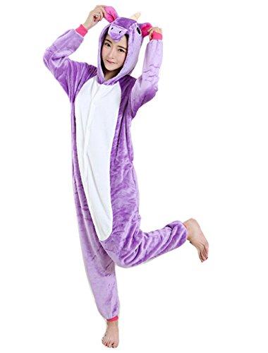 [TiaoBug Unisex Adult Unicorn Hooded Sleepwear Robe Pajamas Cosplay Costume Purple Medium] (Purple Hooded Robe Adult Costumes)