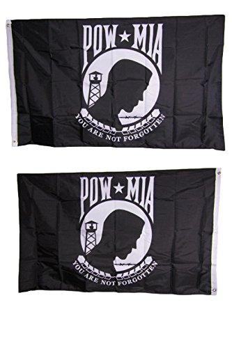 (ALBATROS 2 ft x 3 ft Pow Mia Powmia Double Sided Flag Polyester Nylon House Banner Grommets for Home and Parades, Official Party, All Weather Indoors Outdoors)