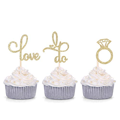 Set of 24 Gold Glitter Love Diamond Ring I Do Cupcake Toppers for Wedding Bridal Shower Decorations