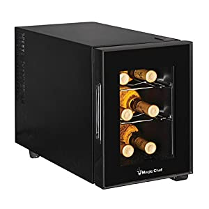 Magic Chef MCWC6B 6-Bottle Single-Zone Black Wine Cooler, 20.1L x 10.9W...