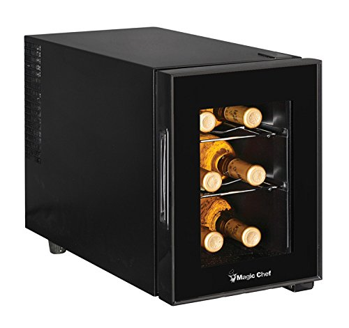 Magic Chef MCWC6B 6-Bottle Single-Zone Black Wine Cooler, 20.1L x 10.9W x 15H