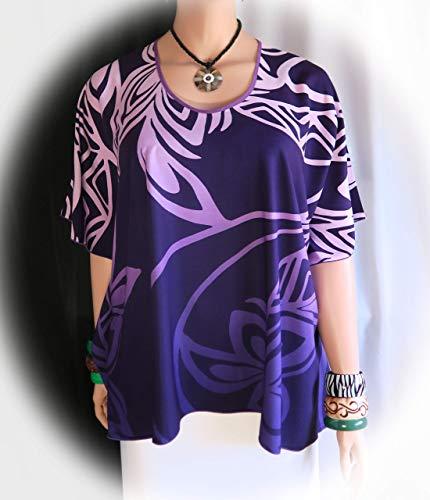 Niihau - Hawaiian Island - Polynesian Clothing Woman's Butterfly caftan, Cover-up Shirt tunic travel - Made in Hawaii - Plus L XL or - Blends Tropical Hawaii