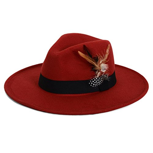 Hat Brim Red Large Wool (Voberry Unisex Timelessly Classic Feathers Jazz Hat Manhattan Fedora Hat (Red))